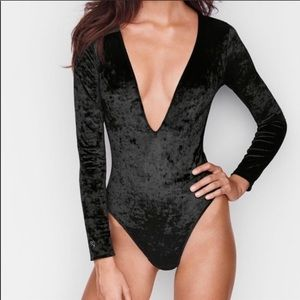 NWT Victoria Secret Crushed Velvet Plunge Bodysuit